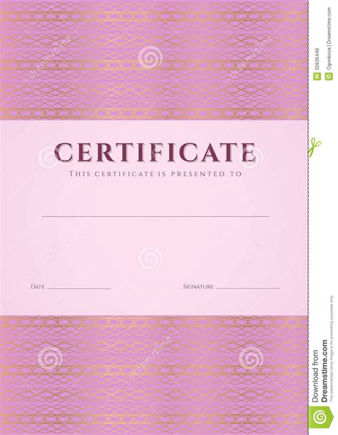 graduation borders templates free pink certificate diploma template pattern stock vector