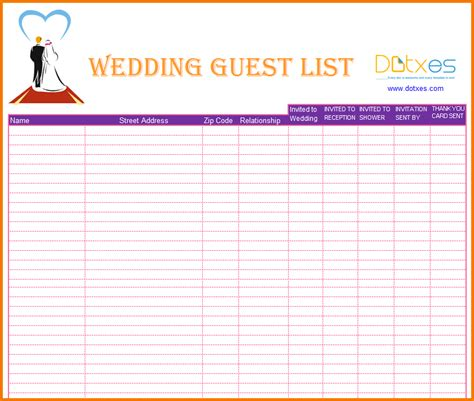 wedding budget guest list 4 printable wedding guest list expense report