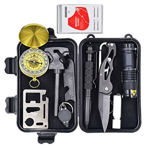 10 In 1 Equipment Cing Hiking Gear Survival Tool Compass Start eachway professional 10 in 1 emergency survival gear kit outdoor survival tool with starter