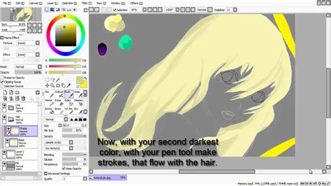 paint tool sai drawing hair paint tool sai tutorial hair shading