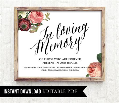 loving memory wedding sign template editable