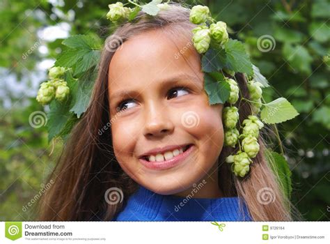 Preteen Girl With Hops Stock Photo Image Of Autumn Grass