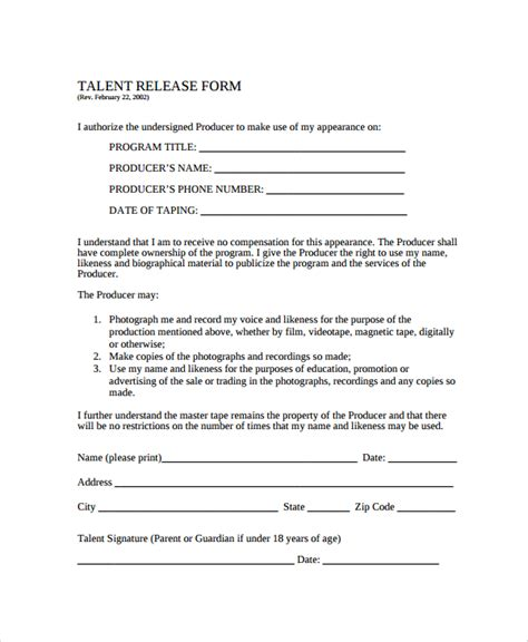 acting contract template sle talent release form template 9 free documents