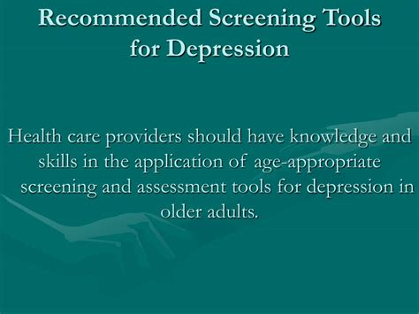 L For Depression by Ppt Tool On Depression Assessment And Treatment For