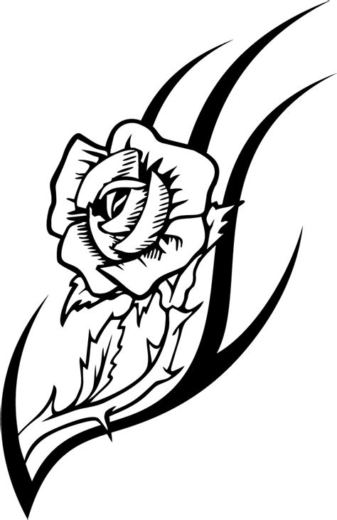 working sheet of a rose tattoo design for kidz coloring