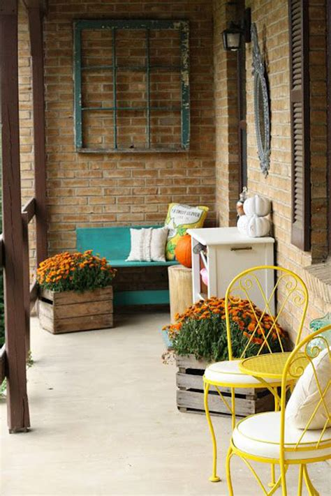 cozy front porch  pops  yellow homemydesign