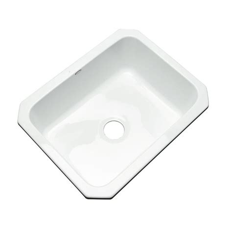 White Undermount Kitchen Sink Thermocast Inverness Undermount Acrylic 25 In Single Basin Kitchen Sink In White 22000 Um The
