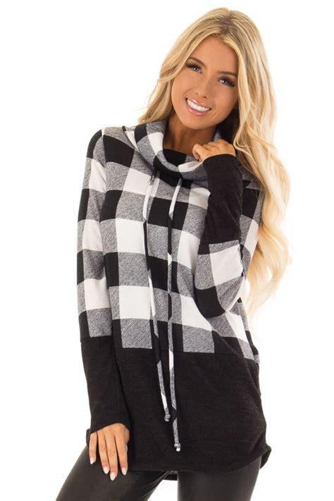 black  white plaid cowl neck sweater lime lush boutique