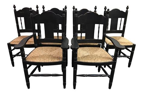 Distressed Black Dining Chairs Set Of 6 Chairish 6 Black Dining Chairs