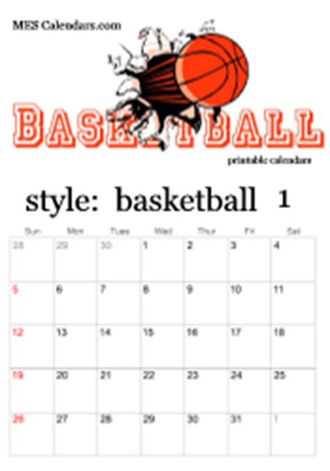 basketball calendar template printable basketball calendars customizable sports