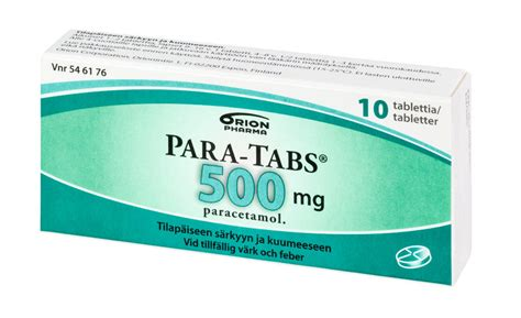 Pamol Tablet 500mg 25 by Para Tabs 500 Mg 10 20 30 Tablettia Suomiapteekki Fi