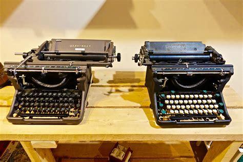black vintage typewriter  stock photo
