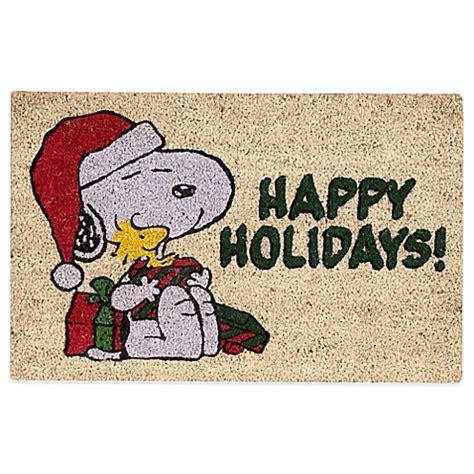 peanuts snoopy merry christmas      door mat  ivory bed bath