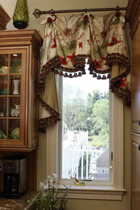 Curtains Kitchen Window Scalloped Valance With Bells Jabots Window Treatments Beautiful Le Veon Bell