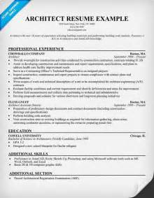 Resume Exles Architecture Internship Architect Resume Resumecompanion Resume Sles Across All Industries