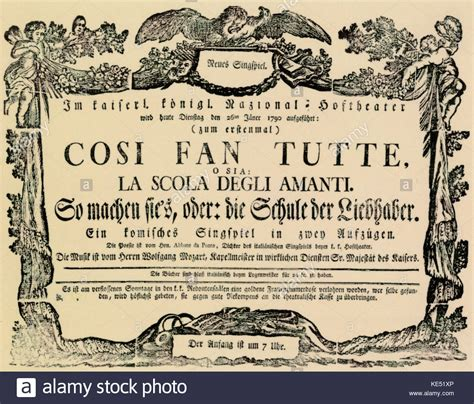 mozart cosi fan tutte amanti stock photos amanti stock images alamy
