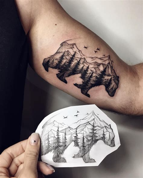 black bear tattoo great black with trees idea on the sleeve