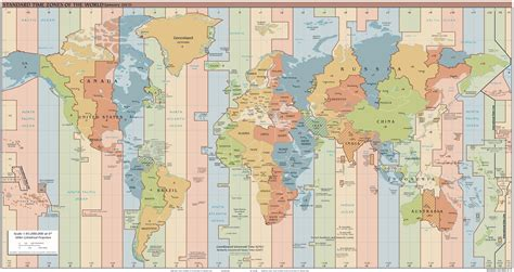 large detailed time zones map   world  time