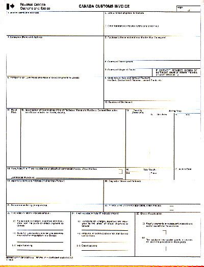 Commercial Invoice For Customs Hardhost Info Customs Commercial Invoice Template