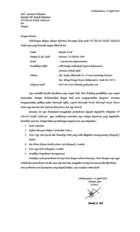 Contoh Cover Surat Lamaran Kerja by Contoh Surat Lamaran Kerja Ke Pt Chevron Contoh Lamaran