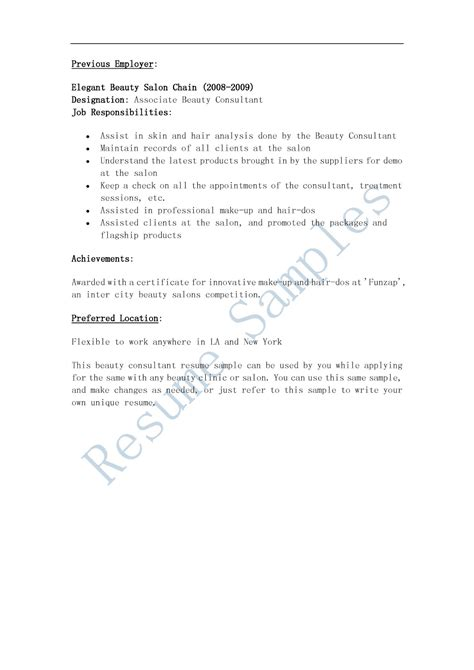 Resume Sles Beauty Consultant Resume Sle Cover Letter Template