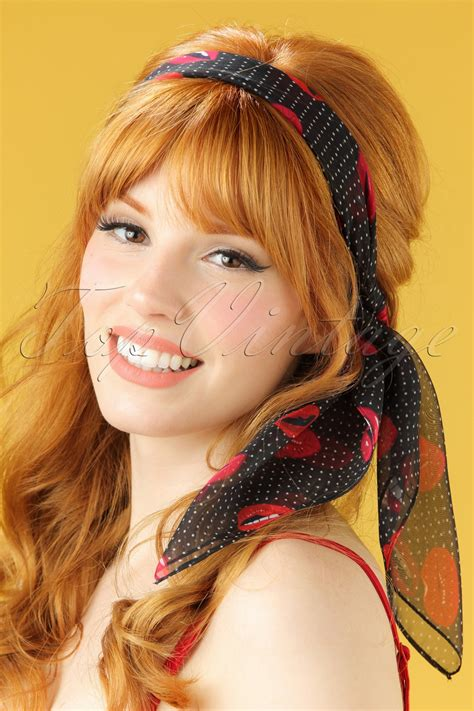 76 best vintage hair pretties images on hair 50s polkadots and hair scarf in black