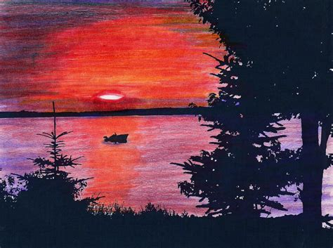 sunset colored pencil colored pencil sunset by juraraw on deviantart