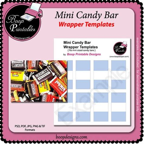 Mini Sized Candy Bar Wrapper Gift Or Party Favor Template By Miniature Wrapper Template