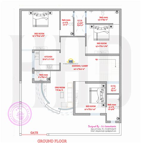 ground floor plans 3 bedroom attached finished villa keralahousedesigns