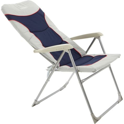 High Back Folding Garden Chairs by Outback High Back Recliner Folding Chair Blue Silver