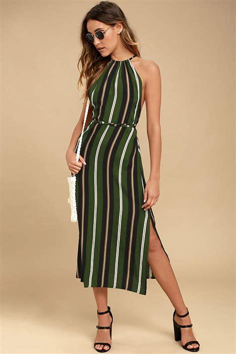 Midi Dress Brand Korz faithfull the brand tuscany green striped dress midi dress