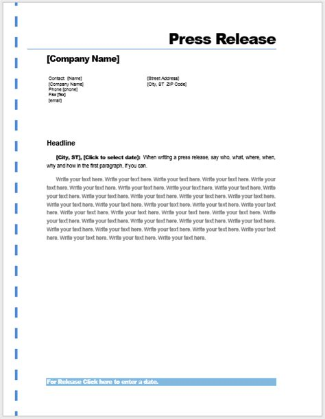 Press Release Template ? Microsoft Word Templates