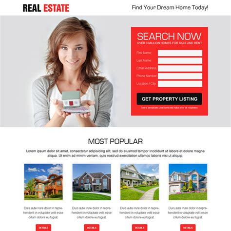 Best Real Estate Property Listing Clean And Effective Lead Generating Landing Page Design Real Estate Landing Page Template Free