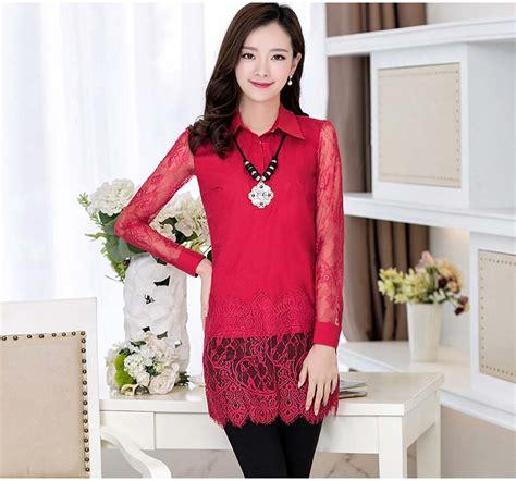 Promo Baju Setelan Korea Celana Panjang Blouse Jaring Import Limited E kemeja natal wanita lengan panjang modis myrosefashion