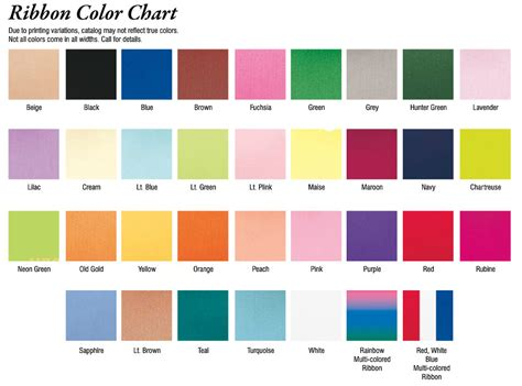 ribbon colors color charts promotional items more