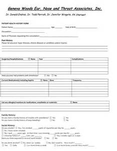 patient history template patient health history form