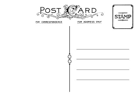vintage postcard template back 2 tamar pinterest
