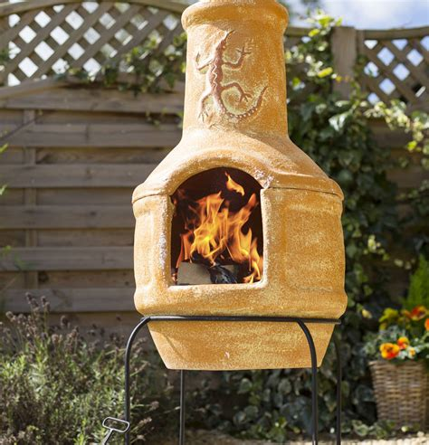 chiminea sealer pizza clay lizard chiminea patio heater with bbq by oxford