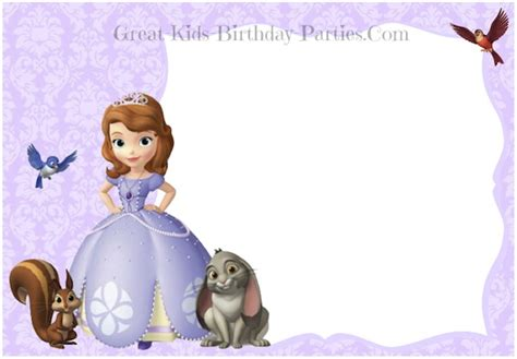 sofia the birthday card template sofia the invitations