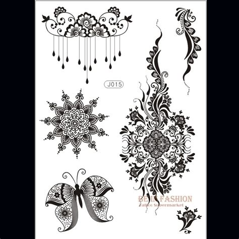 1piece flower sun lace black henna tattoo sticker flash