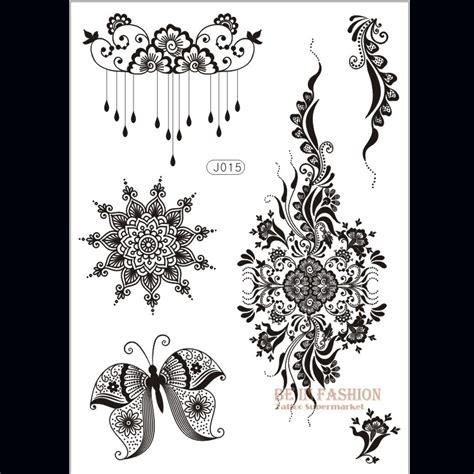 1piece flower sun lace black henna tattoo sticker flash