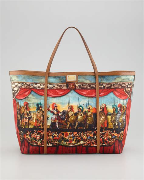 dolce gabbana printed canvas tote bag in multicolor