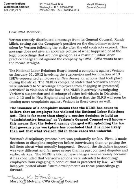 Response Letter To Disciplinary Setting The Record Cwa 1109