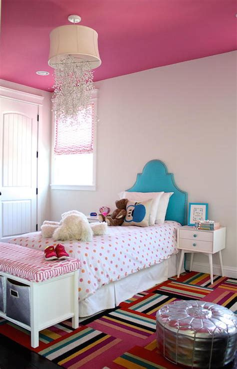Pink And Turquoise Bedroom by Lucite Bench Contemporary S Room House Beautiful