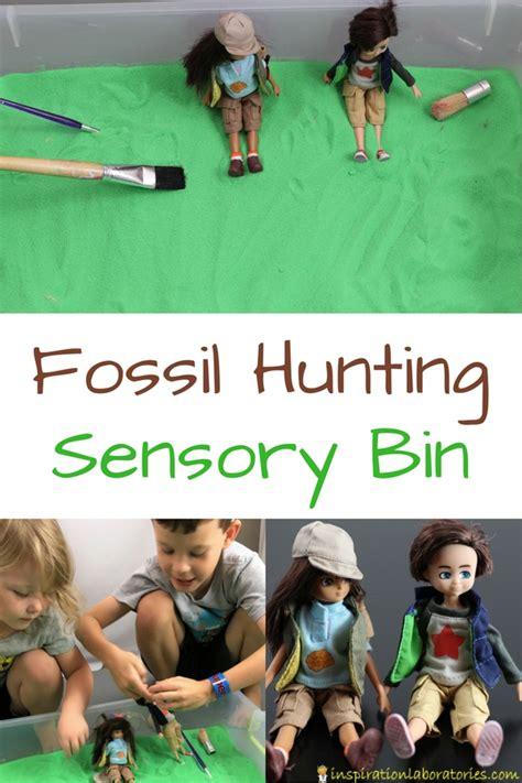 lottie doll paleontologist fossil sensory bin with lottie dolls inspiration