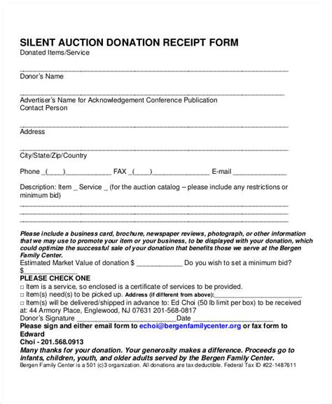 silent auction receipt template 35 receipt forms