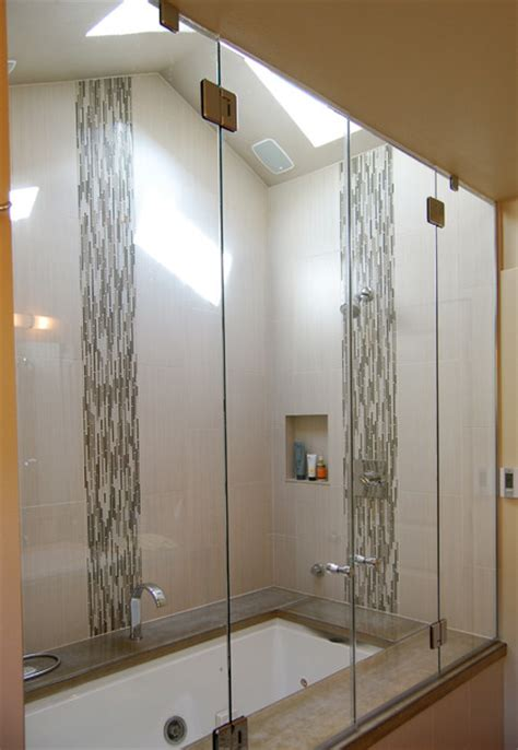 Accent Tile In Bathroom Metal Accent Tiles In The Bathroom Home Decorating Ideas