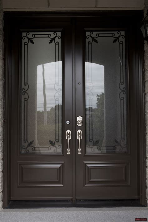 Steel Door With Glass 8ft Steel Door With 2 Traditional Design Wrought Iron Inserts Executive Style Panels