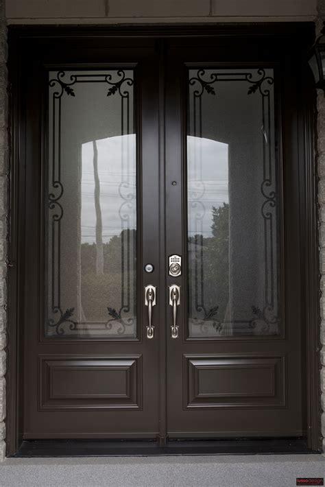 8ft Double Steel Door With 2 Traditional Design Wrought Steel Entry Doors Glass