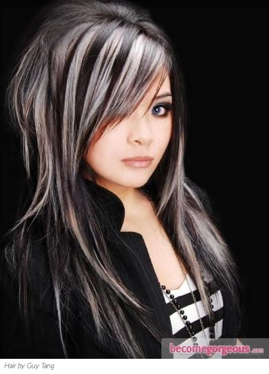 platinum highlights for graying brunette hair pictures hair highlights ideas black hair and platinum